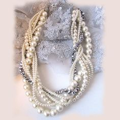 OOAK twisted  braided pearl necklace bridal by BijouxandCouture, $55.00