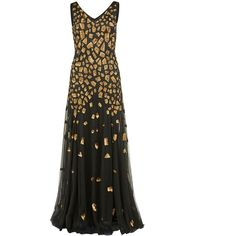 Gina Bacconi Maxi block sequin V-neck dress ($450) ❤ liked on Polyvore featuring dresses, black, women, maxi dress, colorblock maxi dress, black maxi dress, v neck dress and graphic dresses