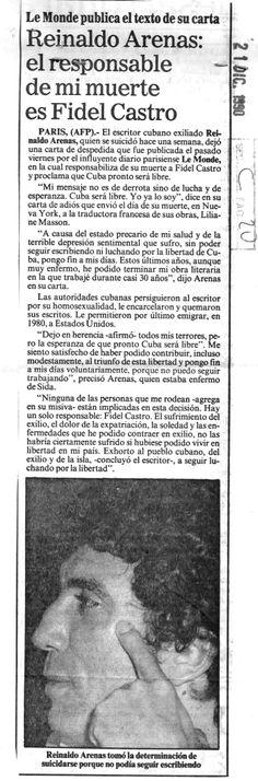 Carta de Reinaldo Arenas. Publicado el 21 de diciembre de 1990.