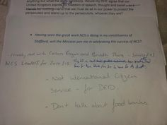 Tory MP...don't talk about Food Banks paper...Tory MP accused of leaving 'don't talk about food banks' note at conference