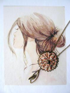 Collier Sautoir Soie et Cristal Swarovski, Femme Romantique Bohème Chic : Collier par maj