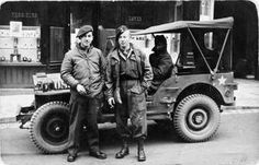 Two members of the 'Jude' Jedburgh team in Paris after the Liberation. 'Jude' was based in the French town of Colmar near Strasbourg. On the right is Sergeant A E Holdham, the team's wireless operator, who parachuted into France on 14 August 1944.