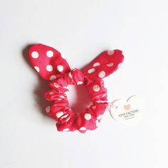 Bunny bow hair scrunchies polka dot xoxo!!! So adorable ❤❤❤ Very comfy too :) Enjoy xoxoxo -Japanese cotton fabric -One size 18cm length elastic