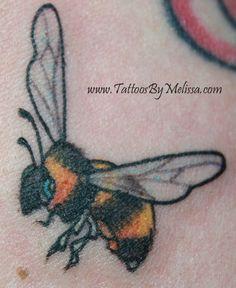 realistic bee tattoo  Artist: Melissa Capo  www.TattoosByMelissa.com