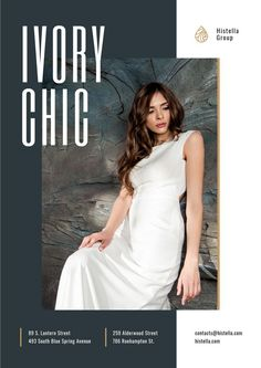Young Woman in Tender white Dress — Create a Design Online Posters, Dress Online, Young Women, Ecommerce, One Shoulder Wedding Dress, White Dress, Vogue, Template, Woman