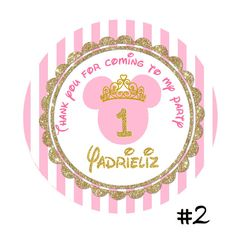 Pink and Gold Minnie Mouse Birthday round by TonyPartyFavor
