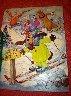 Vintage Banana Splits Skiing 1970s Toy Puzzle Original Box TV Show Collectibles