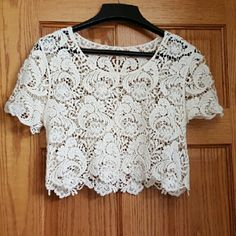 Crocheted Top Cream colored crochet top! Great for over a bikini! Never worn! Love Culture Tops Crop Tops