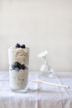 Oat and Chia Seeds Oatmeal with Greek Yogurt and Agave