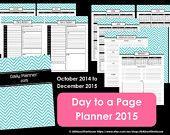 2015 Daily Planner weekly planner printable chevron calendar PDF Editable Planner day Planner Agenda academic home binder arc weekly