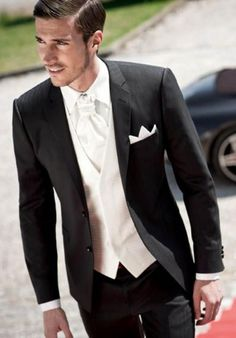 2015 New Black Mens Suits Notched Lapel Wedding Suits for Men Tuxedos Two Button Groom Suits Three Piece Suit Jacket+Pants+vest+tie V2701 from Anniesbridal,$114.64 | DHgate.com