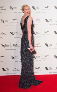 British actress, Gwendoline Christie, wore a black dangly sequin Aerodynamics dress from Vivienne Westwood Couture to the IWC Gala Dinner in London last night.