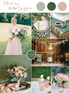 Green sage blush wedding color palette