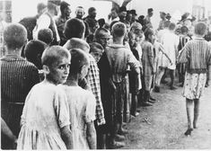 WWII. Bearing Witness to the Holocaust: Children Lined up with Heads Shaved in a Croatian Concentration Camp