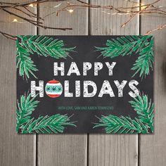 Chalkboard Happy Holidays Greeting Card / Individualized Christmas Card / Printable Digital Card And Printed Cards Personalised Christmas Cards, Printable Christmas Cards, Holiday Greeting Cards, Printable Cards, Christmas Chalkboard Art, Happy Holidays Greetings, Chalkboard Designs, Your Cards, Digital