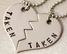 Taken Necklace Set - Girlfriend Boyfriend Gift - Couples Jewelry - Hand Stamped Taken Necklaces - Stainless Steel couplejewelry Relationship Jewelry, Relationship Gifts, Relationships, Dainty Diamond Necklace, Love Necklace, Cute Couple Gifts, Hand Gestempelt, Couple Jewelry, Mommy Jewelry