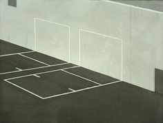Chris Ballantyne | Courts, ink and acrylic on paper, 12 x 16 inches