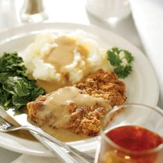 Chicken-Fried Steak and Gravy --This pan-fried, crispy cube steak has less than one-third of the fat and about 80% less sodium.