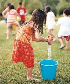 Relay races: Introduce the kids to a cooler take on the relay race. You'll need two buckets for each team and anything that holds water―bath toys, Fun Water Games, Fun Games, Games For Kids, Party Games, Race Games, Projects For Kids, Crafts For Kids, Relay Races, Summer Fun For Kids