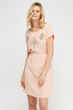 awesome Embellished Print Tunic Dress