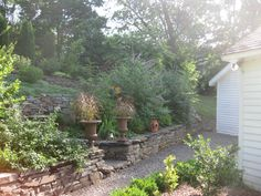 """by Kevin Lee Jacobs: The garden is composed of three terraces. I planted the first terrace with tall shrubs, including Buddleja, Hamamelis (""""Witch Hazel"""") and hemlocks, in order to obscure the view, and also to make the garden seem more mysterious"""