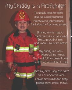 My Daddy is a firefighter. A's Father's Day gift from C.