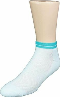 Cortese Women's Double-Tipped Tennis Socks-White/Turquoise Cortese Designs. $7.95