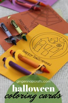 Halloween Coloring Cards at GingerSnapCrafts.com #papercrafts #Halloween #craftlightning