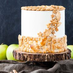 Apple Pie Cake! A layer cake recipe with hints of cinnamon and nutmeg, fresh apple pie filling, buttercream frosting and braided pie crust lattice.
