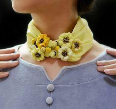 Fresh and lively flowery light yellow silk neckerchief | Sculptured Necklace | Light yellow flowers | Fiber art | Wearable art