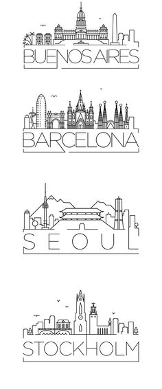 Minimal typographic city skyline designs.