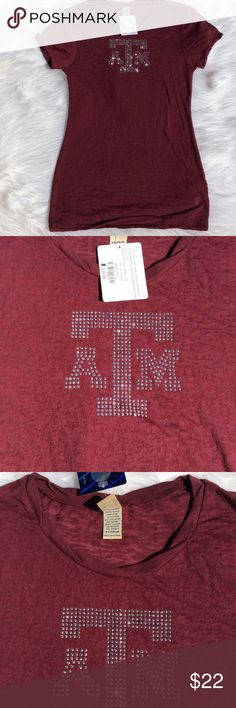 Texas A & M Burnout Tee BWT. Size XL.  Got that maroon going on with a full load of bling!  Soft, burnout material. Long tee otherwise known as 'hide a crack'!  🤣😂😅😁. Officially licensed collegiate product. Tops Tees - Short Sleeve