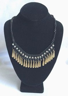 Vintage Rhinestone Necklace Black Chain Gold Tear Drop Beads Signed #Lane #Necklace
