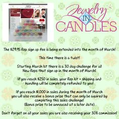 Come join in the fun. Now is the time to jump on and enjoy the wonderful candles and tarts each with jewelry inside valued at $10. up. To be able to get for yourself at discount or sell. Great opportunity. www.jewelryincand...