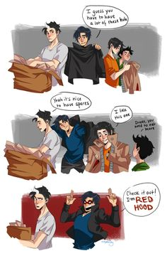 Part 1 - If only the Bat family got along this well. Jason Todd, Dick Grayson, Tim Drake, and Damian Wayne