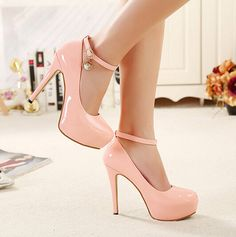 Pink Ankle Strap Design High Heels Fashion Shoes on Luulla