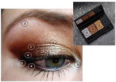 """Holiday Line 2011!   How to Apply the """"Gift of Glamour"""" eye shadows:    1. Gold- Apply gold on the enti...re lid up to the crease of your eye    2. Bronze- Apply bronze in a circular motion concentrating on the outer corner of the eye on the lid and in the crease. Take your liner brush and line the Bottom lash line in bronze (staying only in the outer corner).    3. Silver- Lightly apply silver on the lid towards in the inner corner of the eye. Take your liner brush and apply silver to the Bottom lash line until it meets the bronze on the outer corner of the eye.    4. Blackout- Apply blackout as a liner on the top lash line and also the bottom, inside the lash line."""