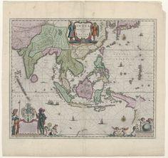 Cartografie in 17de eeuw, kaart van Indonesië en een deel van Zuid-Oost-Azië, Willem Janszoon Blaeu, 1635