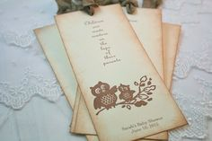 Owl Bookmarks Baby Shower Favors Neutral by SeasonalDelightsBaby, $20.00