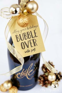 Champagne Christmas Gift Printable - 19 Super Fun DIY Christmas Gifts to Surprise Your Loved Ones on A Budget