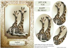 Giraffe Babies A5 Topper with Pyramage on Craftsuprint - Add To Basket!