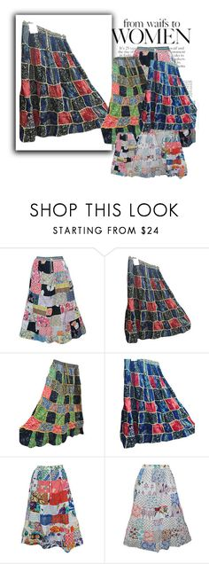 """""""Vintage Patchwork Maxi Skirts For Women's"""" by india-trendzs ❤ liked on Polyvore featuring vintage"""