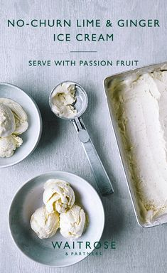 Our simple no-churn lime and ginger ice cream works perfectly with tropical fruits such as mango or passion fruit. A zesty, creamy, refreshing seasonal dessert. Tap to see the full Waitrose & Partners recipe. Frozen Desserts, Summer Desserts, Just Desserts, Delicious Desserts, Dessert Recipes, Yummy Food, Tasty, Waitrose Food, Ginger Ice Cream