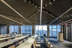 Conde Nast at One World Trade Center Baffle Ceiling, Open Ceiling, Metal Ceiling, Ceiling Panels, Ceiling Tiles, One World Trade Center, Trade Centre, Phone Number Location, Wood Grill