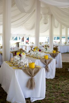 White table clothes and burlap....love the way the burlap is gathered!