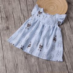 11.38$  Buy here - http://ali8hn.shopchina.info/go.php?t=32802020390 - 2022229 2017 New Baby Girl Clothes Summer Dress Fashion Baby Girls Dresses Ruffles Print Animals Kids Clothes Lolita Korea Bunny  #SHOPPING