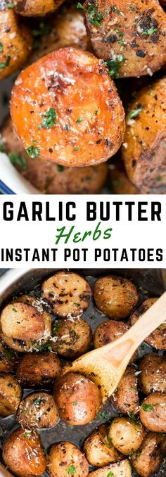 Garlic butter herbs instant pot potatoes are fluffy on the inside and perfect golden brown skin on the outside. Want to make it look fancy – use a mix of small red and Yukon gold potatoes. A perfect (and EASY) side dish for Thanksgiving or Christmas!