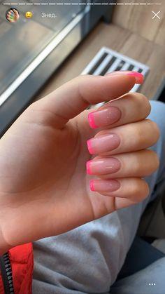 Cute sweet pink nail tips - ChicLadies. Aycrlic Nails, Neon Nails, Swag Nails, French Manicure Nails, Hot Pink Nails, Fancy Nails, Bright Summer Acrylic Nails, Pink Acrylic Nails, Short Nails Acrylic
