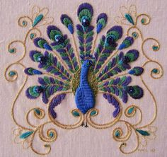 Elizabethan embroidered peacock, stitched in a workshop with Maree Talbot at Koala Convention, Brisbane. www.koalaconventions.com.au