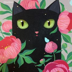 """3,958 Likes, 14 Comments - Bao Pham (@baotpham) on Instagram: """"Here is another peek of the Peony Cat. He's all framed and ready for the show. 🌿🐈🌺🌿 - In…"""" Black Cat Art, Black Cats, Cat Life, Cute Cats, I Love Cats, Crazy Cats, Cat Walk, Croquis, Cat Lovers"""